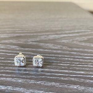 Avon Silver Crystal Square Stud Earrings AK